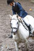 Girl ridding a white horse — Stock Photo