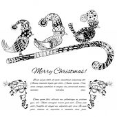 Doodle textured Christmas — Stock Vector