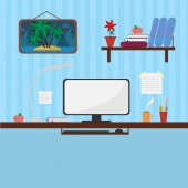 Workplace in style flat — Stock Vector