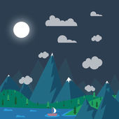 Natural landscape in nighttime - the style of flat — Stock Vector