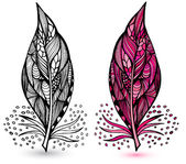 Decorative feathers. Hand drawn vector illustration — Stock Vector