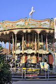 carousel with wooden horses — Fotografia Stock