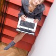 Blond young working typing on laptop — Stock Photo #52640801