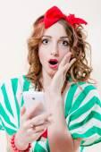Shocked pinup girl — Stock Photo