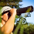 Exploring scientist observing romantic male in pith helmet having fun looking in magnification scope on summer sunny day green woods & blue sky outdoors copy space background portrait picture — Stock Photo #53101677