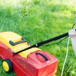 Together every little help counts: image of electric grass trimming or lawn mover machine operating or pushing by small boy or girl with adult behind on green copy space background — Stock Photo #53103563