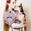Young woman kissing puppy — Foto de Stock   #53647273