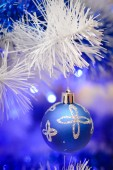 Christmas glass toy on faux pine tree — Stock Photo