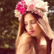Pretty girl in lotus flower crown — Stock Photo #54104543