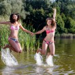 Two girlfriends in bikini jumping in the water — Stock Photo #54185001