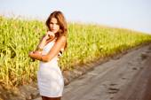 Pretty lady posing in corn filed — Foto de Stock