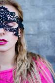 Lady in lace mask — Stock Photo