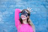 Woman in black lace mask — Stock Photo
