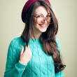 Girl in big glasses wearing knitting jumper — Stock Photo #62288537