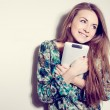 Picture of happy surprised girl with tablet pc computer — Stock Photo #62288813