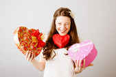 Woman with present boxes — Stock Photo