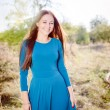 Girl in a blue dress — Stock Photo #67531289