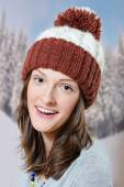 Woman looking at camera in knitwear — Stock Photo
