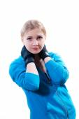Young woman in boxing gloves — Stock Photo