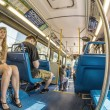 ������, ������: People in the downtown Metro bus in Miami USA