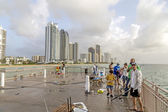 People at fishing Pier in Sunny Isles Beach , Florida  — Stock Photo