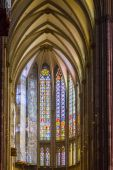 Stained glass church window in Cathedral of Cologne — Stock Photo