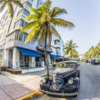 Classic Oldsmobile parks at ocean drive — Foto Stock #53194301