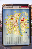 Closeup of illuminated cologne city map — Stock Photo