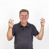 Ridendo e sorridendo uomo anziano — Foto Stock