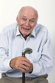 Happy happy elderly man enjoys life — Stock Photo