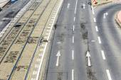 Pattern of street and rails of streetcar in Cologne — Stock Photo