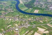 Aerial of landscape with river near Krakow — Stock Photo