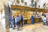 Passage with artistic craft souvenir stalls of the gothic cloth  — Stock Photo