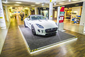 advertising from a car rental company for a Jaguar F Type ca — Stok fotoğraf