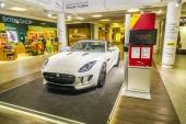 advertising from a car rental company for a Jaguar F Type ca — Stock Photo