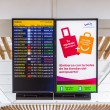Flight information display screen board at airport of Arrecif — Foto Stock #59132233