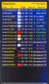 Flight information display screen board at airport of Arrecif — Foto de Stock
