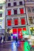 Facade of Sex club open at night — Stock Photo