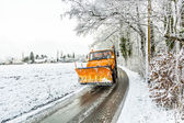 Snowplow clears roads of snow and fallen tree — Stock Photo
