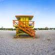 Life guard tower on South Beach, Miami in sunset — Stock Photo #61945805