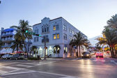 Night view at Ocean drive  in Miami — Stock Photo