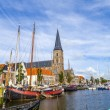 Pier with old boats in Harlingen — Stock Photo #63124759