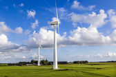 Green meadow with Wind turbines generating electricity  — Stock Photo