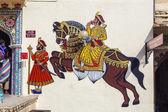 Wall paintings show warriors in ancient times with horses  — Stock Photo