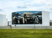 Paintings on the tanks — Stock Photo