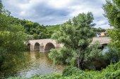 Old roman  bridge spanning the river Nahe — Stock Photo