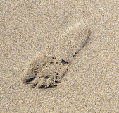 Human footstep in the sand of the beach — Stock Photo
