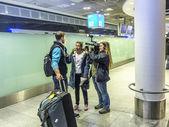 German handball team returns back from the championship in Doha — Stock Photo