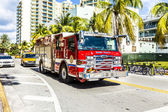 Fire brigade on duty in South Beach in Miami — Stock Photo