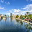 Luxury houses at the canal in Miami Beach with boats — Stock Photo #65214407